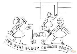 Small Picture Brownie Girls Selling Cookies with Wagon coloring page Free