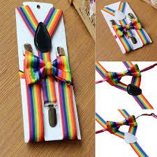 <b>Kids</b> Girls Boys <b>Rainbow</b> Multicolor Braces Suspenders and Bow Tie ...