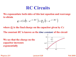 rc circuits we exponentiate both sides of this last equation and rearrange to obtain where