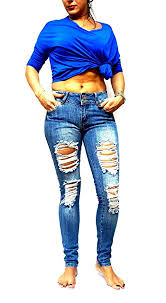 Jack David Rue21 Juniors Womens Blue Denim Jeans Destroy Skinny Ripd Distressed Pants