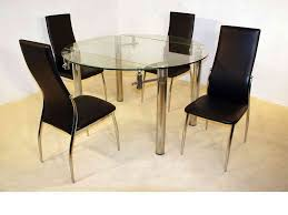 large 130cm round clear glass dining table and 4 chairs set
