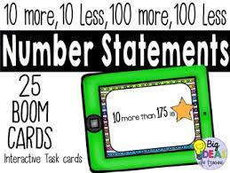 10 More 10 Less Anchor Chart More Or Less Than Number Statement Digital Boom Cards