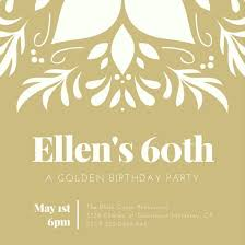 Gold Ornamental 60th Birthday Party Invitation Templates By Canva