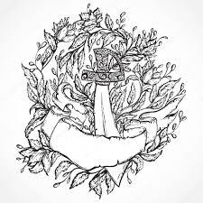 старые пиратские татуировки пиратский меч цветы листья и ленты