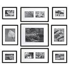 picture frames on wall. GALLERY PERFECT 9 Piece Black Wood Photo Frame Wall Gallery Kit #14FW1019. Includes: Frames, Hanging Template, Decorative Art Prints And Picture Frames On