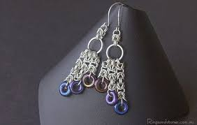 chandelier earrings sterling silver long chainmail earrings