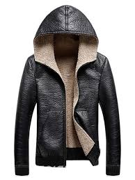 ericdress plain hooded cashmere lining zipper mens leather jacket 13679102