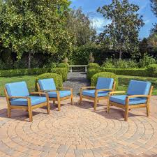 wood patio furniture with cushions. Contemporary Wood Parma Outdoor Wood Patio Furniture Club Chairs W Water Resistant Cush U2013  GDF Studio Throughout With Cushions W