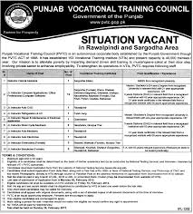 punjab vocational training council required staff in sargodha punjab vocational training council required staff