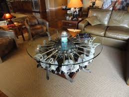 Airplane Wing Coffee Table Radial Engine Table Aircraft Inspired Artistic Furniture