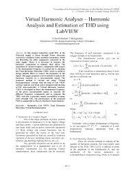 Harmonic Distortion Virtual Harmonic Analyser Harmonic Analysis And Estimation Of Thd