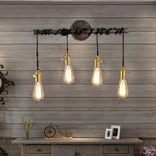 bathroom lighting options. A Slender, Horizontal Plumbing Pipe Suspending Four Exposed Vintage Bulbs With Black Twisted Wire Makes This Beautiful Wall Light And Offers An Array Of Bathroom Lighting Options O