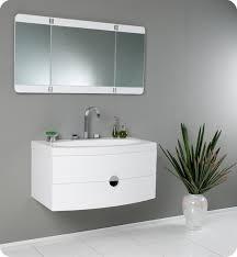 modern white bathroom. 36.25\u201dEnergia (FVN5092PW) White Modern Bathroom Vanity W/ Three Panel Folding Mirror E