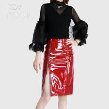 2019 ins fashion red black genuine leather real lambskin patent leather pencil skirt side zipper split faldas mujer etek jupe lt2364 from shipsoon