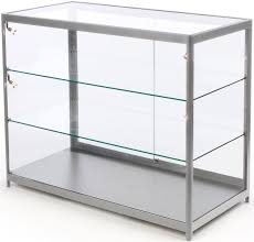 glass display counters offer lockable illuminated merchandising shelves