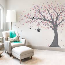 ... Large Printed Windy Tree with Birdhouse Wall Decal ...