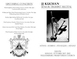 sample concert program senior recital planning william mary
