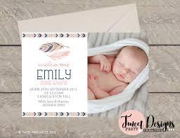 Baby Thankyou Tribal Birth Announcement Girl Printable Baby Thankyou Card Tribal