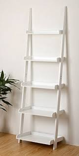 EHemco 5 Tier White Finish Leaning Bookshelf