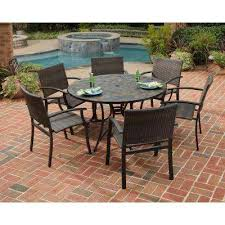 stone harbor 51 in 7 piece slate tile top round patio