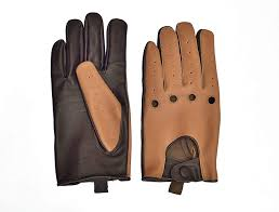 men s two tone unlined leather driving gloves in tan and brown at men s clothing
