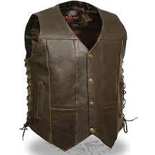 add to my lists milwaukee mens conceal carry biker dark brown leather motorcycle vest