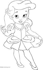 Baby Disney Princess Coloring Pages Easy Drawing Free Printable