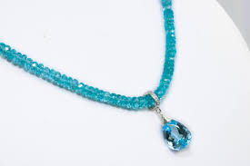 the gem of the heavens necklace large swiss blue topaz and aqua blue apatite statement necklace in silver