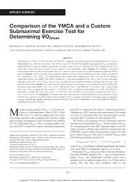 Ymca Bike Test Chart Pdf Comparison Of The Ymca And A Custom Submaximal Exercise