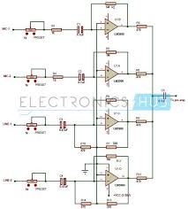 mixer circuit diagram info multi channel audio mixer circuit using lm3900 wiring circuit