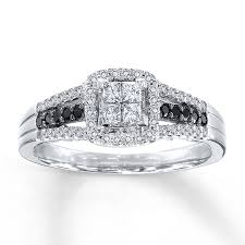 Kay Black White Diamonds 1 2 Ct Tw Engagement Ring 10k White Gold Wedding Rings With Black And White Diamonds