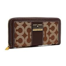 Coach Kristin Lock In Signature Large Brown Wallets ETJ