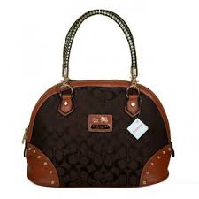 Coach Madison Stud In Monogram Medium Coffee Satchels BRM