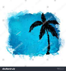 watercolor square paint stain and coconut palm tree closeup black silhouette nature icon isolated on