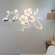 3d flowers vine pattern mirror acrylic wall stickers home decoration diy gold silver living room wall sticker decor t35 art wall decals art wall sticker