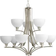 progress lighting legend collection 9 light brushed nickel chandelier with sculpted glass shade