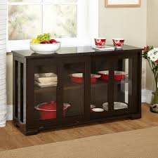 espresso sideboard buffet dining kitchen cabinet with  glass