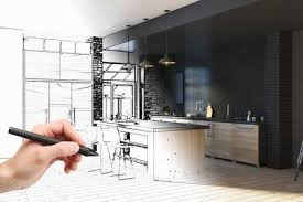 Interior Design Drawing Gorgeous Hand Drawing Unfinished Project Of Modern Kitchen Interior