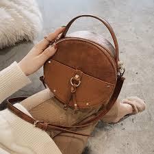 Designer Crossbody Bags Us 13 78 40 Off Vintage Scrub Leather Round Designer Crossbody Bag For Women 2019 Pu Leather Shoulder Bags Ladies Small Handbags Mini Tote Bag In