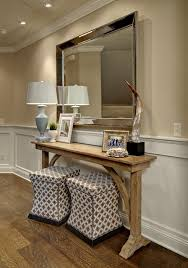antique entryway table. Narrow-entryway-table-Entry-Traditional-with-antique-mirror-console-table -enamelled-wainscotting-ottomans-under-console Antique Entryway Table U