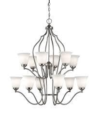 f2652 6 6bs murray feiss beckett 12 light multi tier chandelier in brushed steel finish