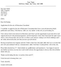 Cover Letter For Consulting Company Cover Letter Education Consultant Sample Cover Letter For Full