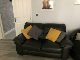 2 x 2 seater black leather sofas mansfield