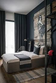 cozy blue black bedroom. M : Exquisite Black And Gold Bed Frame Blue Checkered Blanket Brown Window Curtain Leather Single Seater Sofa Cozy White Bedcover (585 X 868) Bedroom H