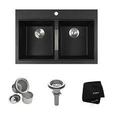 kraus granite 33 in x 22 in black onyx double basin granite drop