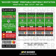 Invitation Ticket Template SOCCER Printable Birthday Invitation Ticket Style Digital 50