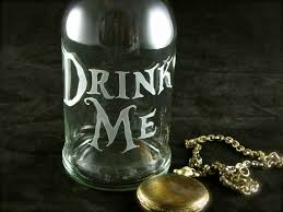 drink me water bottle etched glass reusable beer bottle alice in wonderland