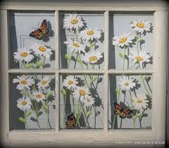 Ideas For Old Windows Panes Of Art Barn Quilts Hand Painted Windows Window Art