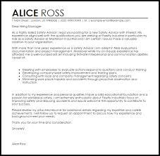 Safety Advisor Cover Letter Sample Cover Letter Templates Examples