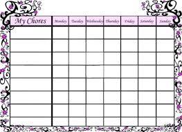 Chore Chart Template Free Printable Newscellar Info